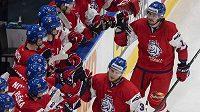 Čeští hokejisté se radují z branky.