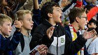 Děti, fanoušci Sparty Praha, během utkání s Rangers.