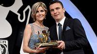 David Lafata s manželkou Kamilou během vyhlášení ankety Fotbalista roku 2014.