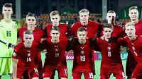 Česká reprezentace do 19 let před úvodním zápasem evropského šampionátu v Arménii s Francií.