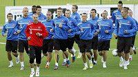 Fotbalisté Slovenska trénují před kvalifikačním zápasem s Litvou.