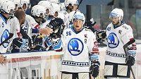 Hokejisté Plzně se radují z branky