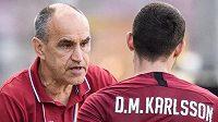 Trenér Sparty Praha Václav Kotal a David Moberg Karlsson během utkání ve skupině o titul s FK Jablonec.
