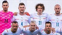 Česká fotbalová reprezentace před utkáním v Itálii.
