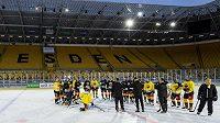 Hokejisté Litvínova trénovali 3. ledna 2020 na Rudolf Harbig Stadionu v Drážďanech před sobotním utkáním pod širým nebem proti Spartě.