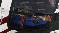 Vrtulník transportoval zraněného Sainze do nemocnice.