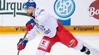 Filip Hronek na středečním tréninku české hokejové reprezentace.
