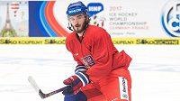 Tomáš Filippi na tréninku české hokejové reprezentace.