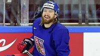 Lukáš Kašpar na tréninku hokejové reprezentace na MS v Moskvě.