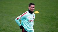 Cristiano Ronaldo na snímku z tréninku portugalské reprezentace.