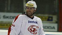 Hokejový útočník Jaroslav Bednář na tréninku Slavie.