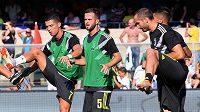 Zleva hráči Juventusu Cristiano Ronaldo, Miralem Pjanič a Giorgio Chiellini.