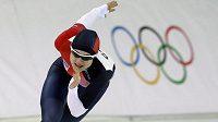 Karolína Erbanová na trati olympijského závodu na 1000 metrů.