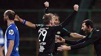 Josef Hnaníček z Příbrami oslavuje gol na 1:0 v utkání s Libercem.