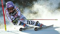 Němka Viktoria Rebensburg na trati obřího slalomu v Killingtonu.