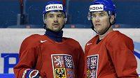 Útočník Tomáš Plekanec (vlevo) a obránce Marek Židlický na tréninku českého národního týmu ve Stockholmu.