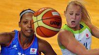 Angelica Robinsonová (vlevo) ze Salamanky v souboji s Petrou Holešinskou z Brna v utkání Evropské ligy basketbalistek.