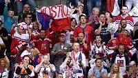 Čeští fanoušci během domácího světového šampionátu v hokeji v roce 2015.