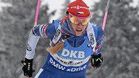 Gabriela Koukalová na trati stíhacího závodu při SP v Oberhofu.