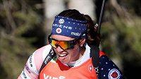 Americká závodnice Susan Dunkleeová bojuje na trati na biatlonovém mistrovství světa ve slovinské Pokljuce. Archivní foto
