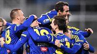 Velkou radost měli fotbalisté Jihlavy z druhého gólu do sítě Dukly.