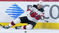 New Jersey Devils' Pavel Zacha (37) passes the puck against Philadelphia Flyers' Jakub Voracek (93) during the first period of an NHL hockey game, Tuesday, March 23, 2021, in Philadelphia. (AP Photo/Matt Slocum)