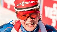 Česká biatlonistka Veronika Vítková v cíli sprintu v Anterselvě.