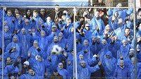 Fanoušci Slovácka během derby ve Zlíně.