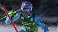 Šárka Strachová během prvního kola slalomu v Aspenu.
