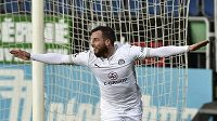 Václav Jurečka ze Slovácka se raduje z gólu v utkání proti Spartě, po zápase byl ovšem hradišťský ofenzivní záložník zklamaný.