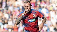 Jakub Řezníček z Viktorie Plzeň oslavuje svůj druhý gól proti Mladé Boleslavi.