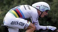 Jezdec stáje Omega Pharma-Quick Step Tony Martin v časovce Tour de France.