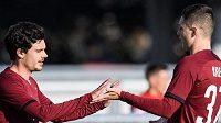 Fotbalisté Sparty Praha Michal Trávník, David Moberg Karlsson a Ladislav Krejčí oslavují gól na 1:0 během utkání 3. kola MOL Cupu s FK Blansko.