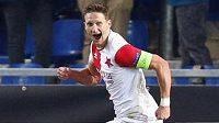 Milan Škoda se raduje po třetím gólu Slavie v Genku.