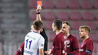 Vyloučení Nikolaje Komličenka z Mladé Boleslavi během utkání 19. kola Fortuna ligy proti Spartě.