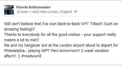 Na svém Facebook profilu Marvin často své fanoušky informuje...