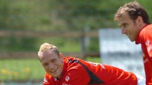 Jan Polák s Karlem Poborským při tréninku české fotbalové reprezentace v Seefeldu.