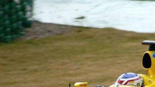 Jarek Janiš na trati ve španělském Jerezu při testech ve stáji formule 1 Jordan.