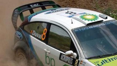 Francois Duval s fordem na shakedownu Rallye Akropolis.