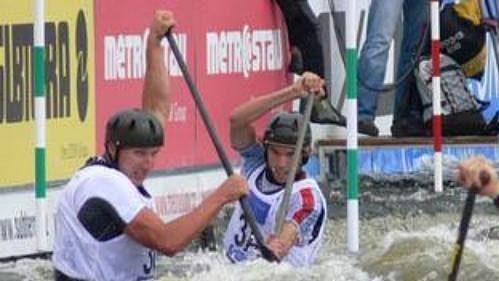 Česká hlídka v kategorii C1 ve složení Tomáš Indruch, Jan Mašek a Stanislav Ježek na MS ve vodním slalomu v Praze-Troji.