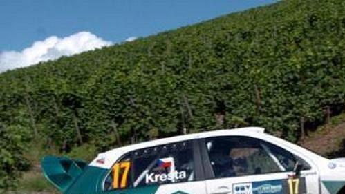Roman Kresta na trati první etapy Německé rallye.