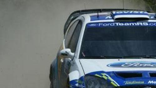 Dani Sola s fordem na trati Mexické rallye.