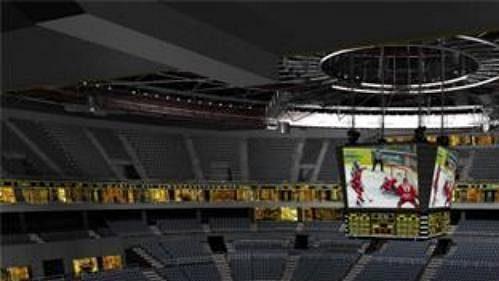 Předpokládaný pohled z luxusní lóže, tzv. skyboxu, v hale Sazka Arena