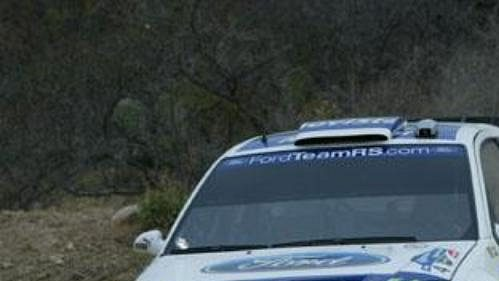 Dani Sola s vozem Ford Focus WRC na trati Rallye Mexiko.