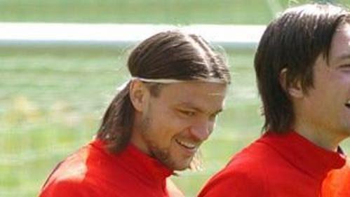 Tomáš Rosický a Tomáš Ujfaluši při tréninku české fotbalové reprezentace v Seefeldu.