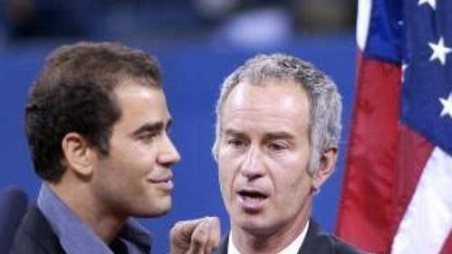 Boris Becker a John McEnroe vítají Samprase v klubu tenisových 'důchodců'.