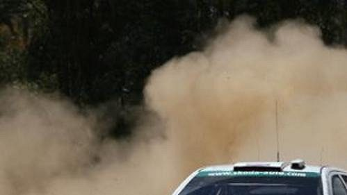 Colin McRae za volantem fabie WRC při Australské rallye.