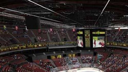 Počítačová studie hokejového zápasu v rozestavěné multifunkční Hale Sazka.
