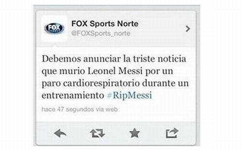 Stažená zpráva o Messim na Twitteru stanice Fox Sports.