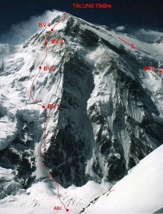 Topo prvovýstupu Marka Holečka a Zdeňka Hrubého na Talung (7349 metrů).